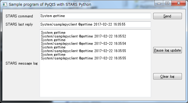 STARS Python sample programs - using PyQt5 and stars py